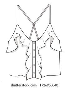 Women's fashion design drawings.Women's top blouse drawing.