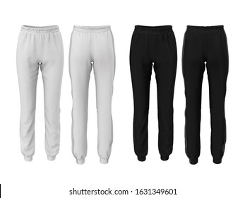 Women's fashion sweatpants in white and black color isolated on white background. Front and back view. Template, mockup. Sports uniform. 3D illustration of pants with realistic fabric texture.