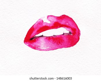 Women's lips. Hand painted fashion illustration