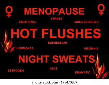 Women's menopause sign in red and black