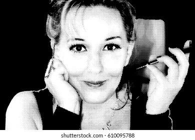 Women's portrait illustrates black points on white