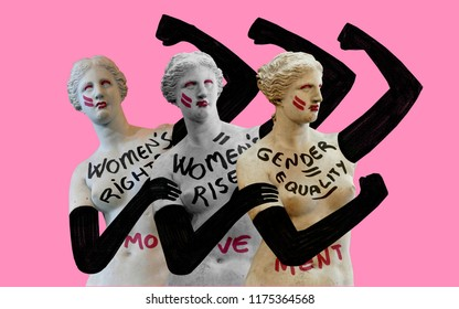 Women's rights movement. Women fight for their rights. Conceptual illustration represents evolution of classical women towards modernity.
