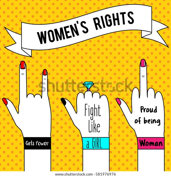 Women's rights. Woman's hands and slogan ribbon. Feminism concept illustration in pop art style for poster, flyers