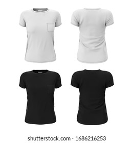 Women's T-shirt with pocket in black and white color. 3d realistic render of  clean empty template, mockup for design, logo. Sports uniform. Front and back view.