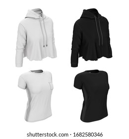 Women's T-shirt and sweatshirt for sports. Black and white. 3d illustration. Template for print design, mock up for branding. Women's sportswear.
