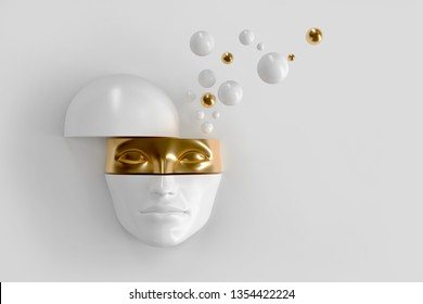 Women's volume face cut to pieces. Part of the face represents the mask. From the head of the fly balls. Concept art surreal superhero, woman in hijab or ninja 3D illustration