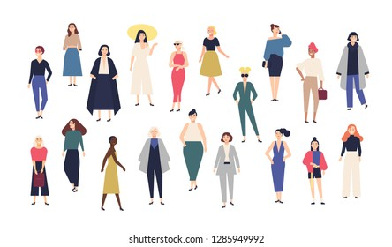 Women's world. Crowd of girls dressed in trendy casual and formal clothes. Collection of female cartoon characters isolated on white background. Colorful illustration in modern flat style