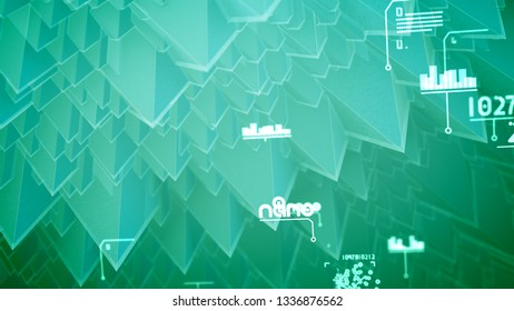 Wonderful 3d illustration of nano pyramids with shining slopes, wirling spirals, changing words, glittering digits in the celeste background. It looks innovative and cheerful.