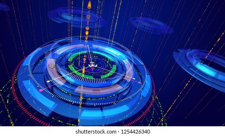 Wonderful 3d illustration of shining multishaped rings imposed on each other and having several thin arrows spinning around in the dark blue backdrop. It looks like a  cyberspace compass.