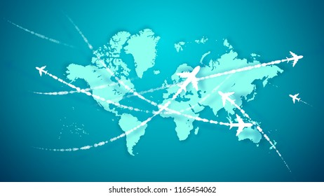 A wonderful 3d rendering of white airplanes flying along the routes marked with smoky trails over the light blue world map. They connect continents and inspire the mood of optimism and luck.