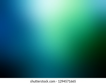 Wonderful blue green ombre pattern. Mystery light in underwater simple background. Dark sea water blurred texture. Secret sky gleaming defocus illustration. Abstract backdrop.