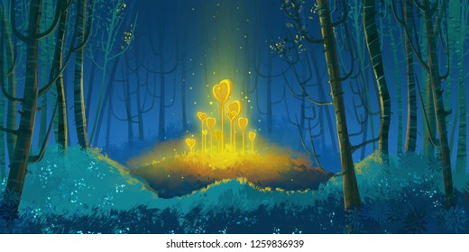 Wonderful Fantasy Forest. Fiction Backdrop. Concept Art. Realistic Illustration. Video Game Digital CG Artwork. Nature Scenery.