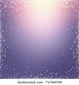 Wonderful festive defocused background. Golden glitter frame texture. Lilac, magenta, purple ombre gradient pattern. Wonderful festive template.