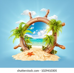 Wonderful tropical landscape with palms and beach in wooden helm on sand. Unusual 3D illustration. Travel and vacation concept.