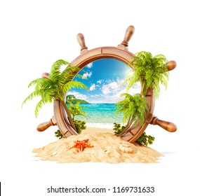 Wonderful tropical landscape with palms and beach in wooden helm on sand. Unusual 3D illustration. Travel and vacation concept. Isolated