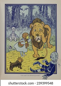 Wonderful Wizard of Oz main characters, created by Frank Lyman Baum in 1900. Dorothy speaks to the Cowardly Lion.