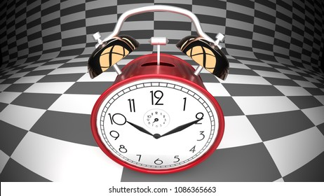 Wonderland alarm clock, curved checker background, 3d illustration