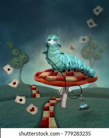 Wonderland series - Caterpillar on a mushroom in a country landscape - 3D mixed media illustration