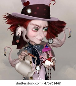 Wonderland series - Mad hatter with teapot, cups and flamingos - 3D and digital painted illustration