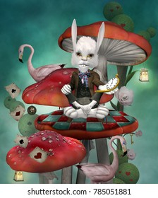 Wonderland series - Rabbit with clock sits on a mushroom in a fantasy scenery inspired by Alice in wonderland fairytale - 3D mixed media illustration