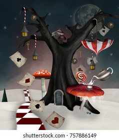 Wonderland series - Winter tree with mushrooms, umbrella and playing cards - 3D mixed media illustration