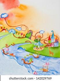 wonderland ' watercolor painting