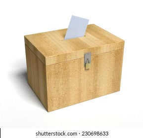 Wood Ballot Box with Paper Inserted... 3D rendered.