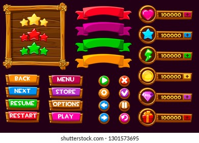 Wood banner. Game UI kit. Complete menu of graphical user interface GUI to build games. Can be used in mobile or web games. Wooden buttons and icons