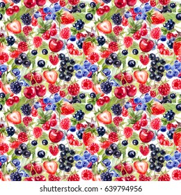 Wood berries seamless pattern. Strawberry, cherry, blueberry, redcurrant, blackcurrant, cranberry, strawberry, blackberry, cow berry hand draw watercolor illustration.