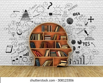 Wood Bookshelf in the Shape of Human Head and books near break wall, Knowledge Concept