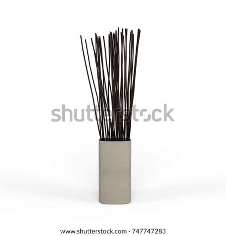 Wood Branches Ceramic Vase Decoration Isolated Stockillustration