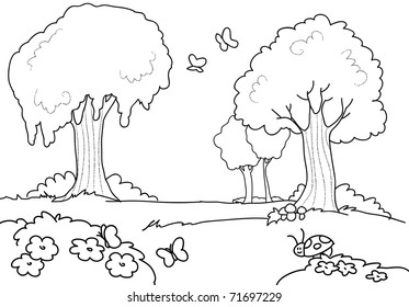 A wood with butterflies, flowers and trees.