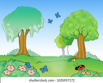 Wood with butterflies, flowers and trees illustration.
