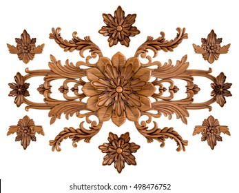 Wood carved ornament on a white background. Isolated. Isolated. 3D Rendering