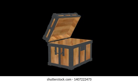 Wood Chest on Black 3D Rendering