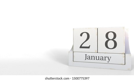 Wood cube calendar shows January 28 date, 3D rendering