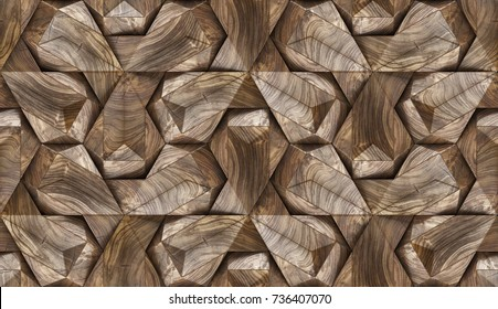 Wood design 3d panels. Material wood walnut. High quality seamless realistic texture.