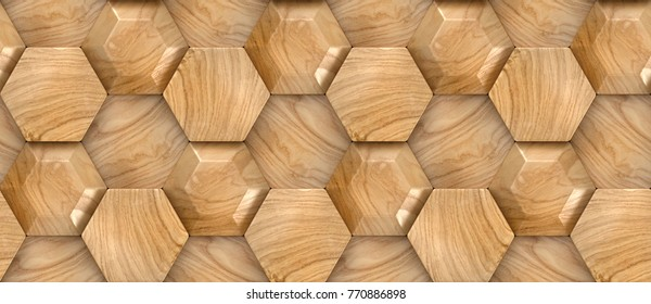 Wood design faceted hexagon 3d panels