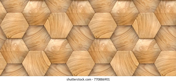 Wood design hexagon 3d panels