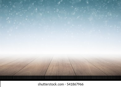 Wood floor in foggy background 3d rendering.