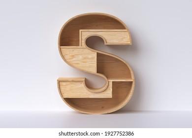 "Holzart, 3D-Buchstaben ""S"" aus Sperrholzplanken. 3D-Darstellung."