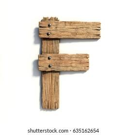 Wood font, plank font letter F