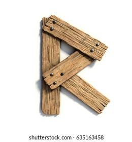 Wood font, plank font letter R