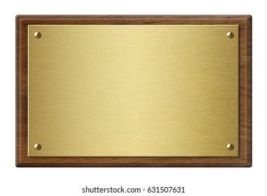 Wood frame with gold metal plaque 3d illustration