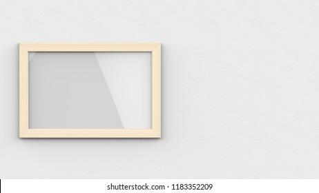 Wood Frame Horizontal left 3d rendering