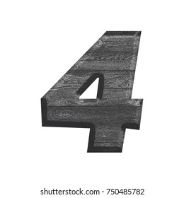 Wood grain textured number four 4 in a 3D illustration with a dark black and white silver gray color wooden texture basic bold font isolated on a white background with clipping path.