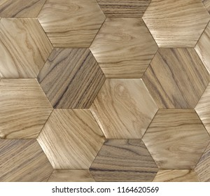 Wood haxagons, eco panels natural background . High quality seamless realistic texture.
