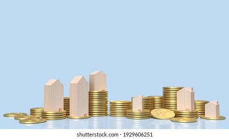 wood home on gold coins for property content 3d rendering
