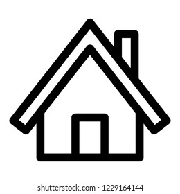 Wood house icon. Outline wood house icon for web design isolated on white background