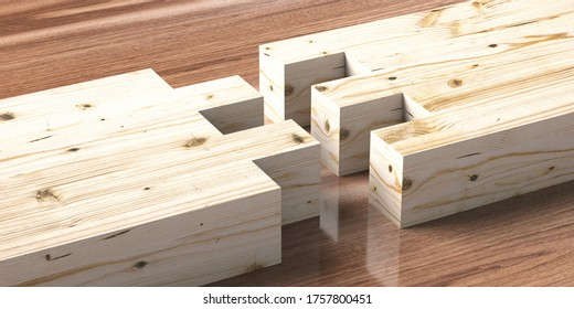 Wood joint jig, dovetail connection concept. Woodworking of separate pieces for assembling with finger joints on wooden background. 3d illustration
